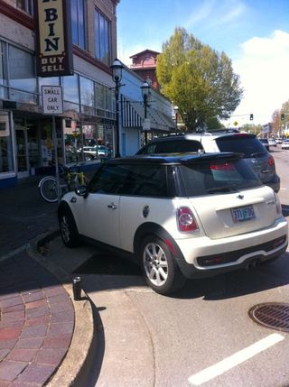 Mini Cooper in small car space