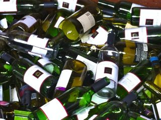 Wine bottles in recycling bin 2