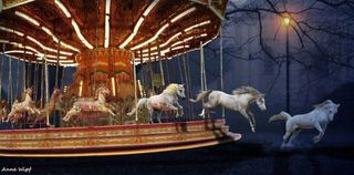 Horses escaping merry go round