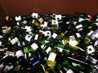 Wine bottles in recycling bin 1