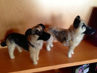 Dog art on shelf