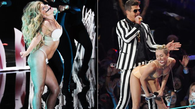 Miley lady gaga vmas split