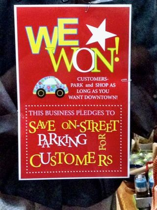We Won parking sign