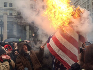 Flag burning Portland
