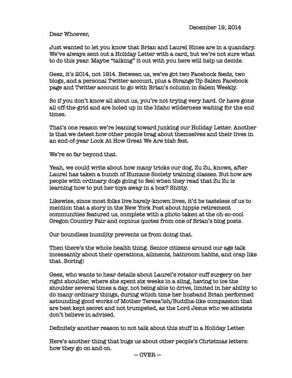 I explain why we don\'t have a 2014 Christmas Letter - HinesSight
