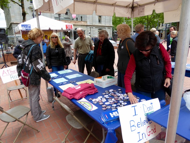 Portland Atheist Festival table