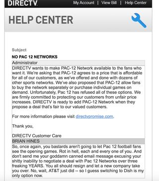 DirecTV Pac 12 email