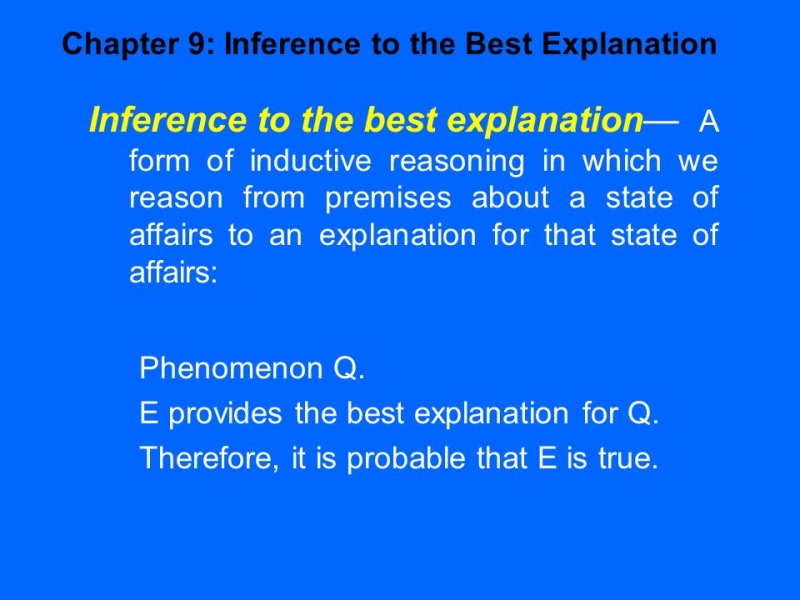 Inference to the best explanation