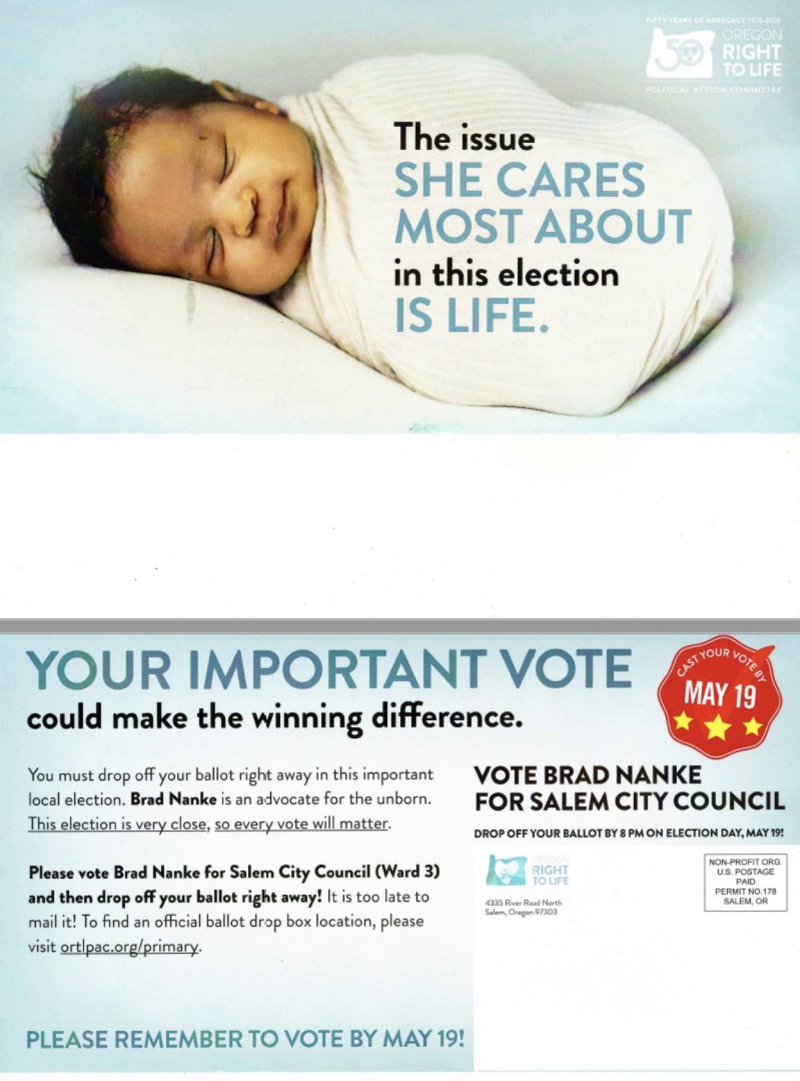 Oregon Right to Life mailer for Nanke