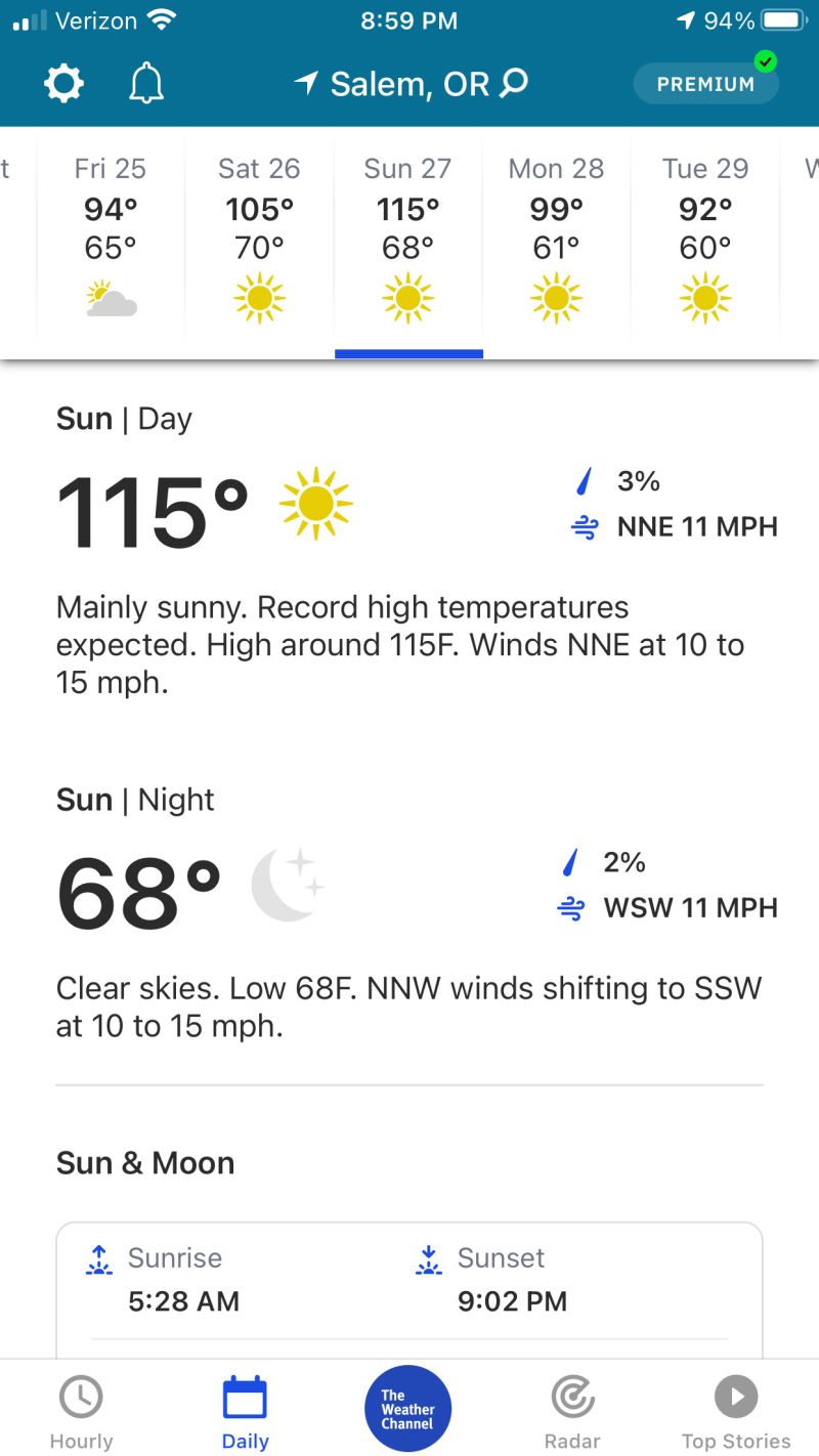 Weather Channel forecast